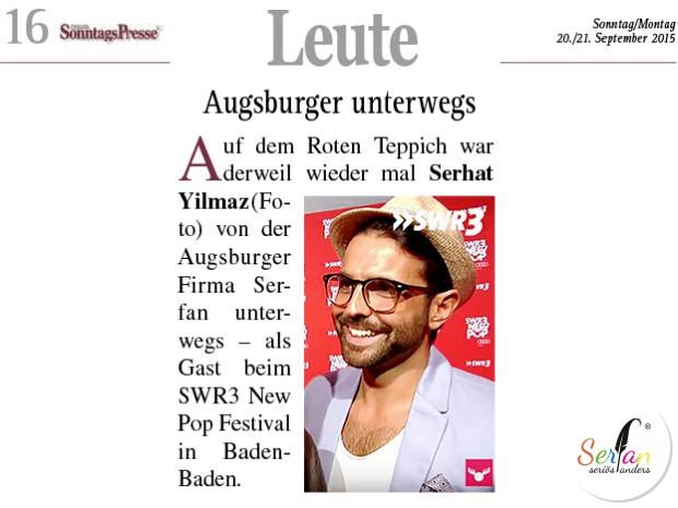 Neue Sonntagspresse berichtet über Serhat Yilmaz auf SWR3 New Pop Festival