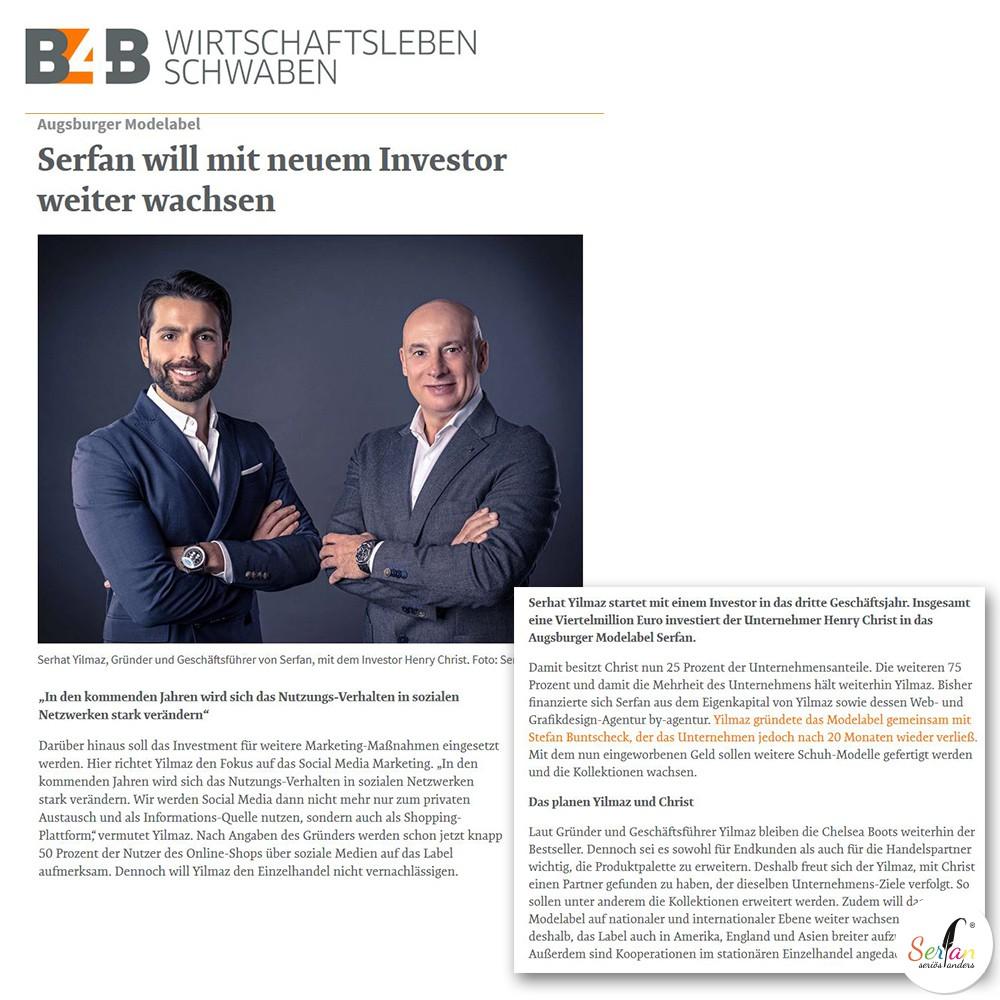 B4B Wirtschaftsleben Schwaben über Serhat Yilmaz und Investor