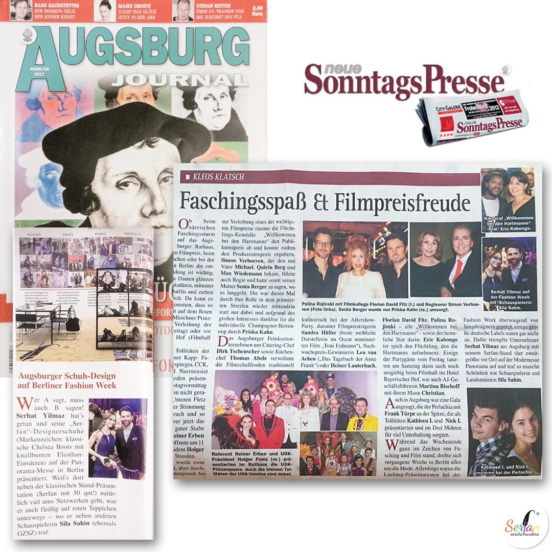 Augsburg Journal und Sonntags Presse berichten über Serfan auf der Fashion Week in Berlin