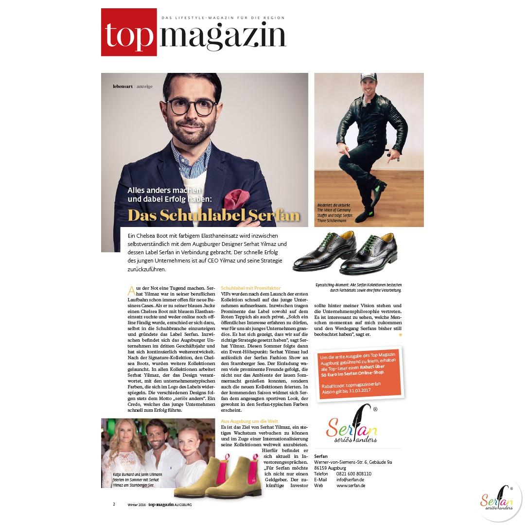 Das Top Magazin zeigt Serfan CEO Serhat Yilmaz