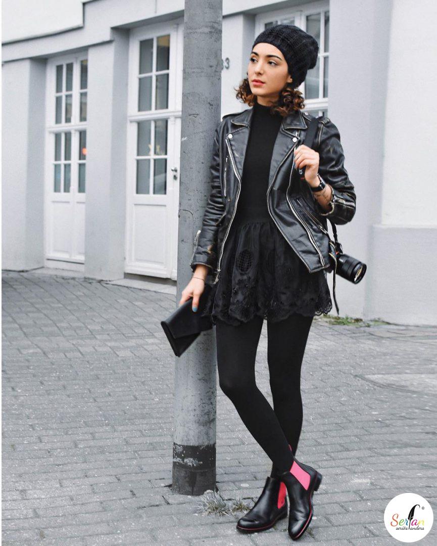 Die Fashion Bloggerin Sara-Joleen kombiniert ihr Outfit mit den Chelsea Boots von Serfan