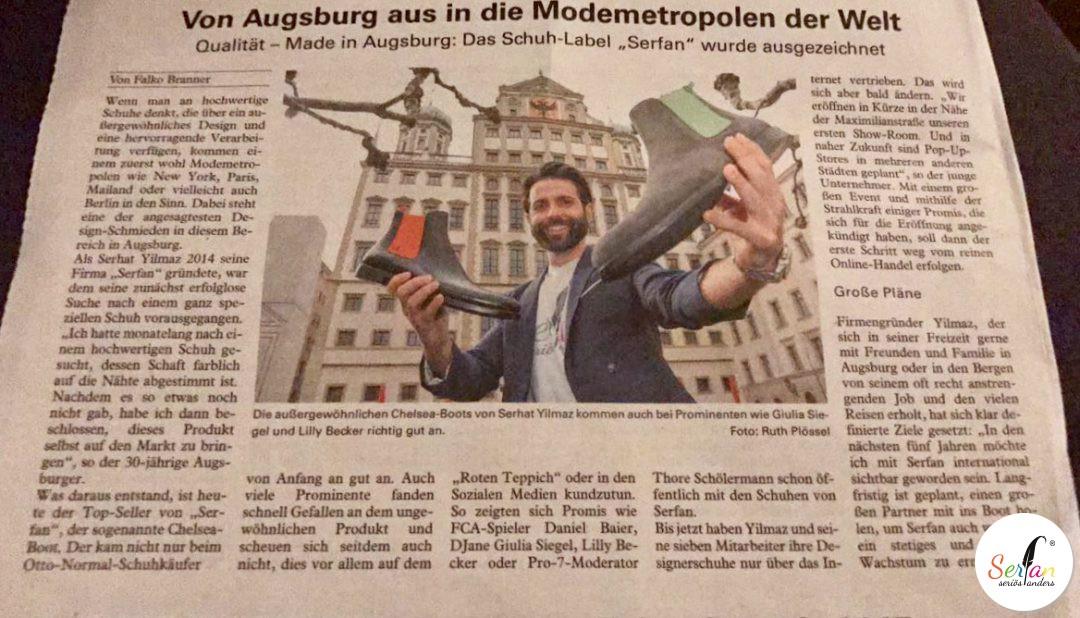 CEO Serhat Yilmaz mit seinem Schulabel Serfan in der Augsburg Extra